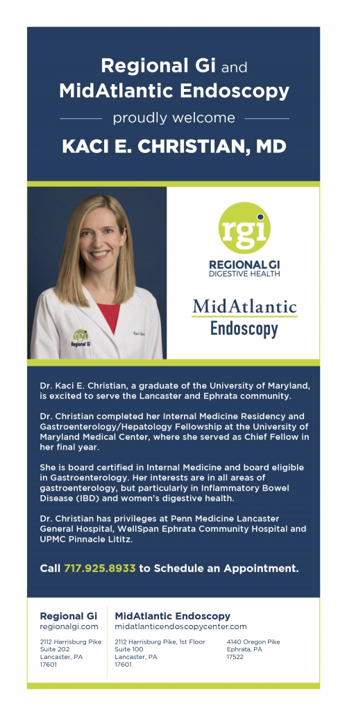 Regional Gi and MidAtlantic Endoscopy proudly welcome Kaci E. Christian, MD